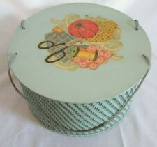 Vintage Princess Wicker Round Hat Box Style Sewing Basket Box ~ Mint Green