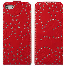 Diamond Bling Flip PU Leather Wallet Case for iPhone SE 5 5S