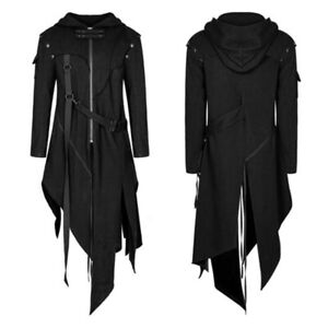 Men Medieval Jacket Hooded Long Coat Gothic Retro Cardigan Outwear Clothes Coat