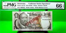 MONEY BOTSWANA 1 PULA 1979 SPCIMEN GEM UNC PICK 1 aCS1 LUCKY MONEY VALUE $720
