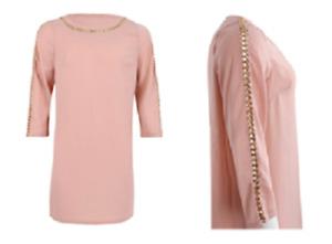 Women's Elegant Dusty Pink Dress with Sleek Chain Work (Plus Sizes)