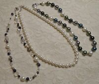 VINTAGE TO NOW ASSORTED MULTI COLOR FAUX PEARL GLASS LUCITE BEADED NECKLACE LOT