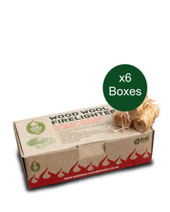 Wood Wool Firelighters x6 Boxes. Natural, Clean & Odourless.Easy Fire-starting