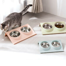 Double Dog Cat Bowls Premium Stainless Steel Pet Bowls New Cute T9X7