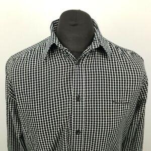 Pierre Cardin Mens Shirt MEDIUM Black Regular Fit Check Cotton