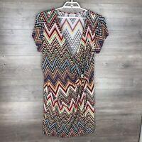 Avenue Women's Size 18/20W Short Sleeve Wrap Dress Printed Chevron Stretch