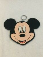 Vintage 1994 Disney Mickey Mouse Head Leather Coin Pouch Purse Zipper & Key Ring