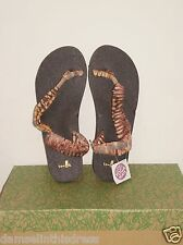 Sanuk YOGA SLING IT ON PRINTS Toe Loop Sandal DUSTY Yellow/Brn 9US NWOT $42 MSRP