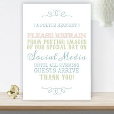 Pastel Coloured Wedding No Photos On Social Media Request Sign On White Card C27