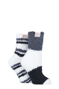 GENUINE NEW UNWORN DESIGNER ELLE 2 PAIR LUNAR GREY BEDTIME SOCKS UK4-8 RRP£12