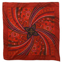 LANVIN PARIS PAISLEY RED LARGE Silk Scarf 33/32  Inches