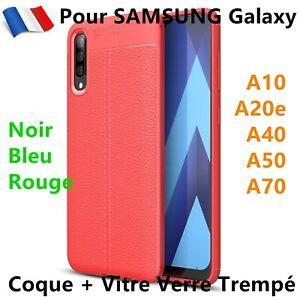 Samsung A10 A20e A40 A50 A70 Glas Gehärtetes +Hülle Wirkung Leder Cover