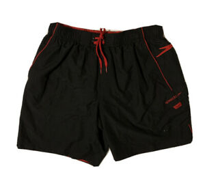 Speedo Sz Large Lined Swim Trunks Shorts Black Red Pockets Elastic waist String