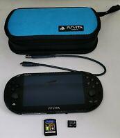 Sony PlayStation Vita PCH 2016 Black + Case, Minecraft Cart VGC Handheld System