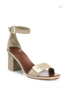 Tory Burch NEW Gabrielle Suede Fumo Tan Block Heel 65mm Sandals  US 6.5  $295