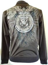Franky Max brown rhinestone Jesus cross angel wings zip jogging jacket mens S