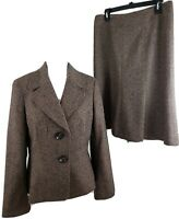Talbots ~Woman Size 10/8~Brown 2pc.Skirt/ Suit Wool/Silk Office Wear Fully Lined