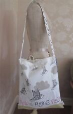 Disaster Designs 'Vintage Wagtail' Bird Canvas Tote Shopper Shoulder BAG BNWT