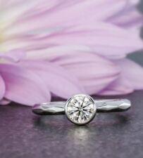 Engagement Ring 925 Sterling Silver Ring 1.00 Ct Off White Moissanite Bezel Set