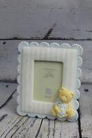 "Fancy Frame Cameo Lace Baby Boy Teddy Bear Picture Frame 2.5"" x 3.5"" NURSERY"