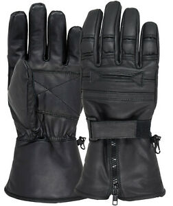 Men Motorcycle Gloves Geniune Leather Warm Winter Cold Weather Full Finger Glove