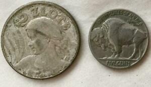 Poland Very Fine Or Better Silver 1925 Silver London Mint 2 Zlote  Free USA Ship