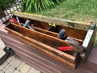 Primitive Hand Made Wood and Metal Tool Box Carrier