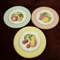 "Vintage Fondeville New York Set of 3 Fruit Plates 8-1/2"" 3 Color Rims VG"