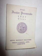 1927 Holy Cross Annual Junior Promenade dance list card at Hotel Bancroft
