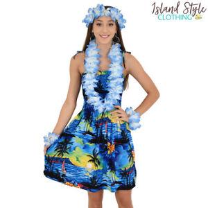 Blue Sunset Ladies Tube Dress + Lei Set Hawaiian Print Costume