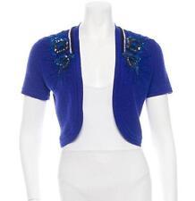 CAROLINA HERRERA Blue Wool Silk Knit Jewel Shrug Bolero Cardigan Sweater S NEW