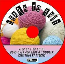 HOW TO KNIT EASY BEGINNERS TUITION +400 BABY/TODDLER KNITTING PATTERNS PC-CD NEW