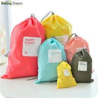 4pcs Waterproof Nylon Travel Storage Bag Home Drawstring Organize Cosmetic Pouch