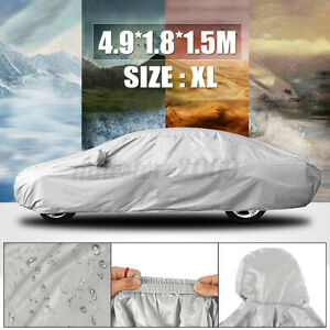 Full Car Cover Outdoor Waterproof Breathable Rain Snow UV Sun Heat Protection