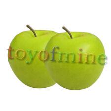 2 Pcs artificiel Green Apple Large - Pommes plastique fruit décoratif Faux chaud