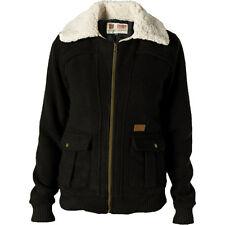 Volcom Stealth Bomber Jacket - Women's XS - Black Casual Coat - Sherpa Collar