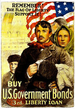 Remember the flag of liberty support it US Government Bonds War   Poster Print