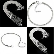 RUBYCA Silver Plated Snake Chain Bracelet w/ Extender fit European Charm Beads