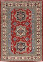 Geometric Oriental Super Kazak Red Hand-Knotted Area Rug Living Room Carpet 7x10