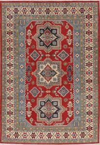 Geometric Oriental Super Kazak Red Hand-Knotted Area Rug Living Room Carpet 7x10