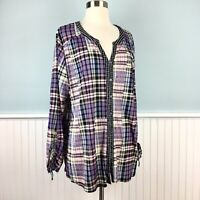 SIZE 1X Style & Co Plaid Semi Sheer Button Up Top Blouse Shirt Women's Plus NWT