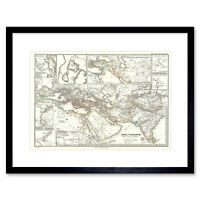 Map Illustrated Antique Spruner Persian Empire Framed Wall Art Print