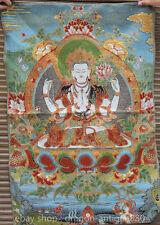 90CM Ancient Tibet Cloth Silk Green Tara Goddess Tangka Thangka Painting Mural