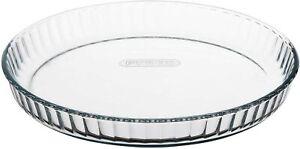Pyrex Bake Dish Round Glass Fluted Flan Tart High Resistance 28cm, 1.6L