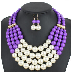 Charm Womens Multilayer Pearl Necklace Bib Choker Chunky Statement Pendant Chain