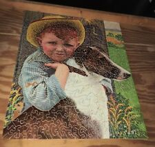 """Antique C1930 Lg Wooden Jigsaw Puzzle """"Freckles"""" 450pc Boy + His Dog Nice Puzzle"""