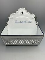 Vintage German Rustic White Enamel Zwiebelkasten Onion Basket - Wall Mount