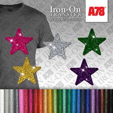 IRON-ON Glitter Stars Motif Hot Fix FABRIC T-SHIRT TRANSFER SEQUIN Stickers