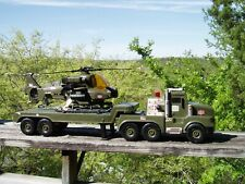 Super Rare Huge Hasbro GI Joe Motorized Winch Helicopter on Mega Flatbed Truck!