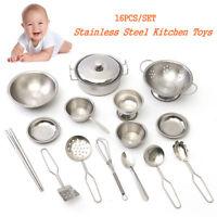 16tlg Edelstahl Küche Mini Modell Koch Geschirr Kinder Spielzeug Essgeschirr Set